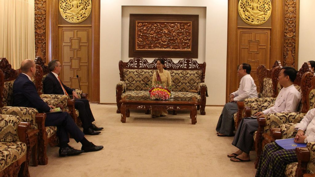 State Counsellor and Union Minister for Foreign Affairs, Daw Aung San Suu Kyi,(center), holds talks with the Ambassador of the United States of America to Myanmar, Mr. Scot Marciel, in Nay Pyi Taw yesterday.Photo: MNA