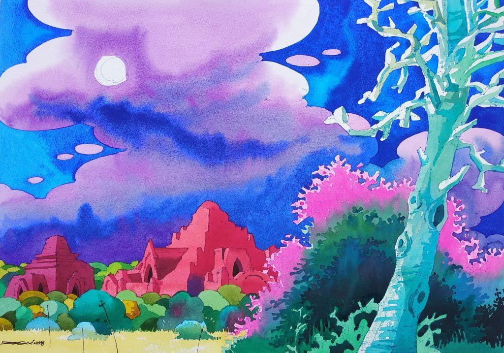 Watercolor works of Artist Zarni.Photo supplied by artist
