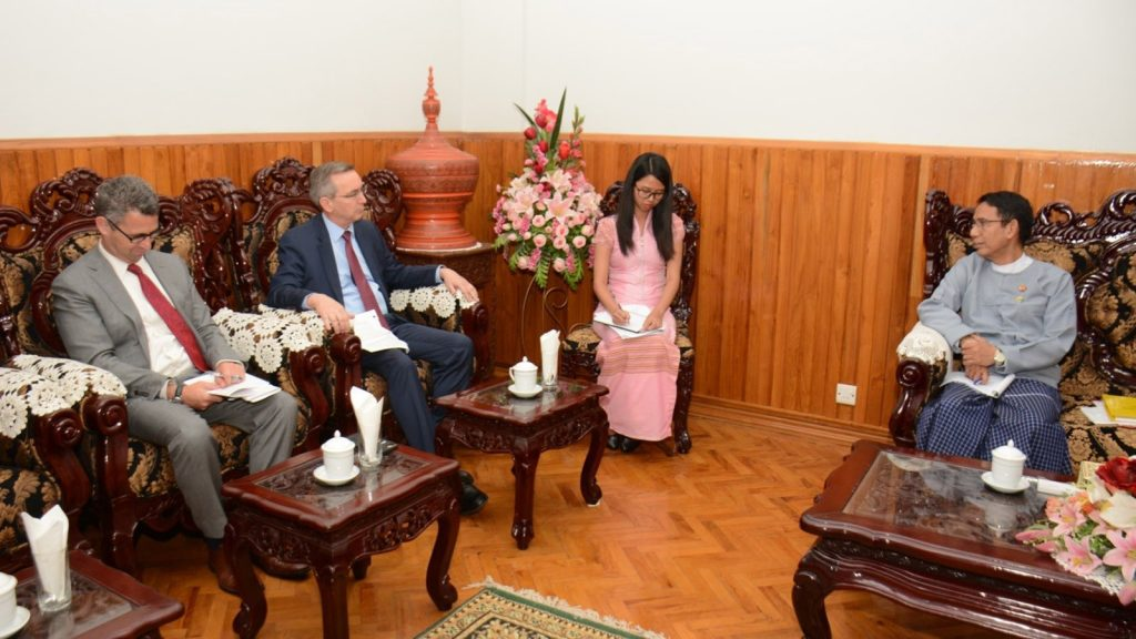 Union Minister Dr. Aung Thu meets with US Ambassador Mr. Scot Alan Marciel in Nay Pyi Taw yesterday. Photo: MNA