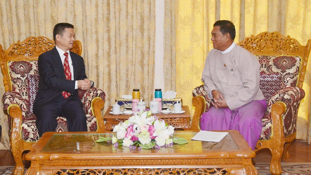 Deputy Minister U Kyi Min receives Chinese cultural counselor Mr. Tian Shanting in Nay Pyi Taw yesterday.Photo: MNA