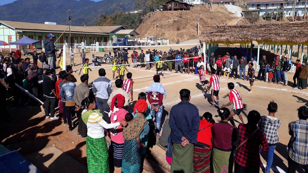 Sepak Takraw men's competition in progress at sports arena in Leshi Township yesterday, celebrating the 2019 Naga traditional New Year.Photo: Htut Ko Ko (Yinmabin)