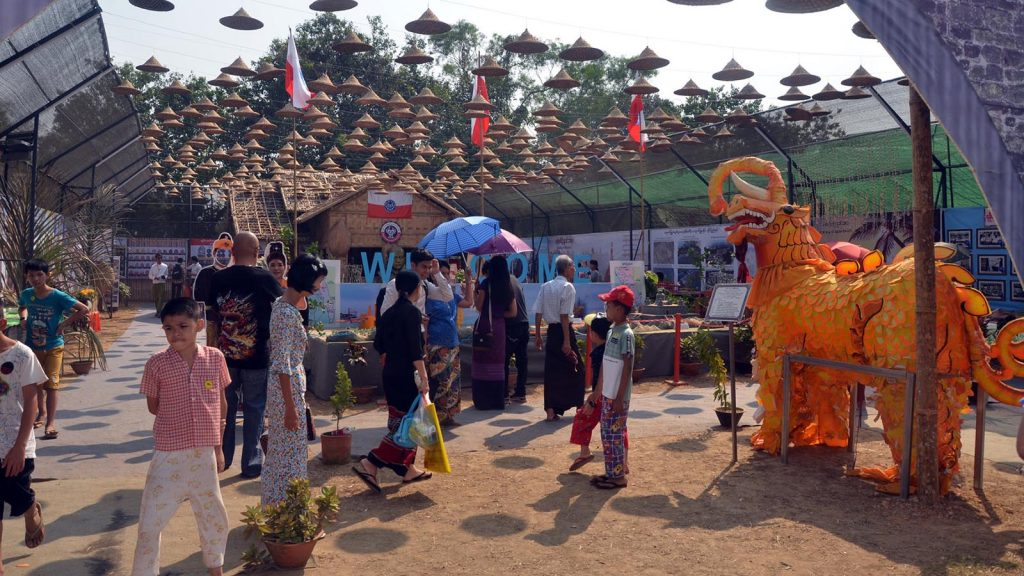 People visit the Ethnics Culture Fest on second day at the Kyakkasan Sports Ground in Yangon.