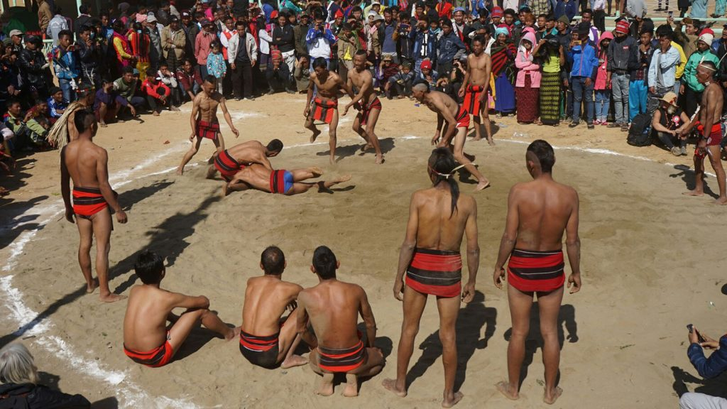 Naga ethnic people playing traditional wrestling during Naga Traditional New Year Festival in Leshi Township, Sagaing Region.Photo: Win Oo