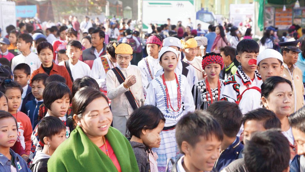 Childern's Literature Festival in Myitkyina is crowded with ethnic people and students on the second day. Photo: Htein Nan Naw