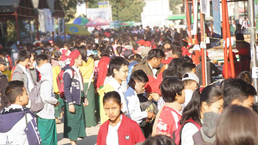 Childern's Literature Festival in Myitkyina is crowded with students on the final day.