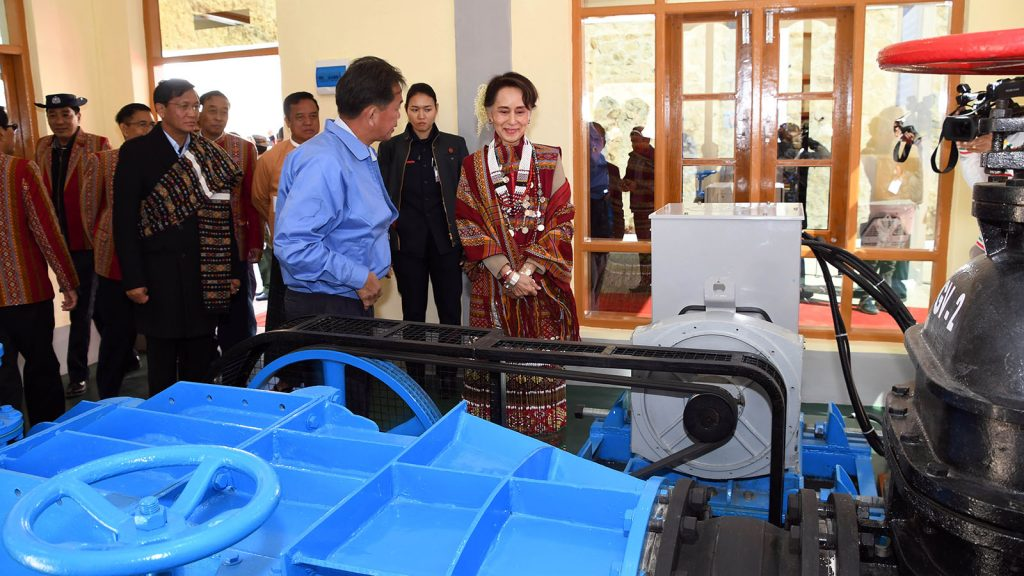 State Counsellor Daw Aung San Suu Kyi visits Tikir Hydropower Plant in Thantlang, Chin State, yesterday.Photo: MNA