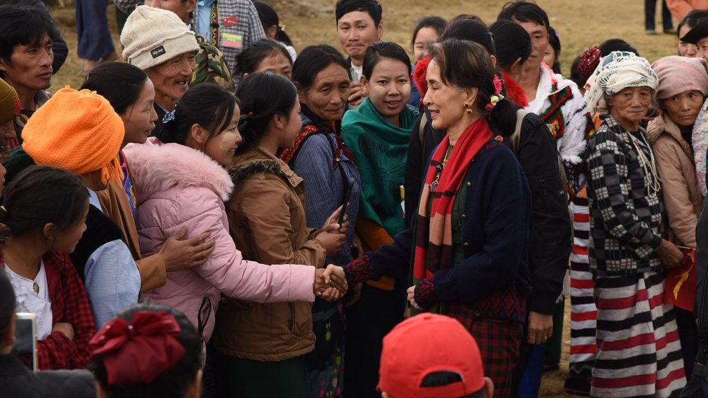State Counsellor Daw Aung San Suu Kyi is welcomed by local residents in Khaunglanphu, Kachin State.Photo: MNA