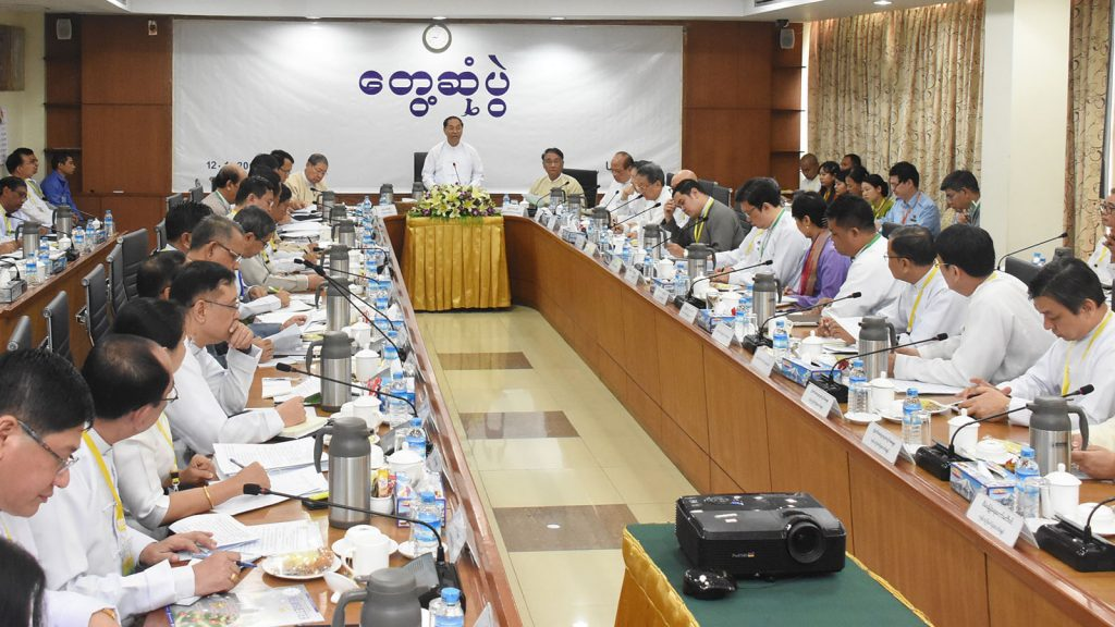 Vice President U Myint Swe delivers the address at 23rd meeting of Private Sector Development Committee and businesspersons.Photo: MNA