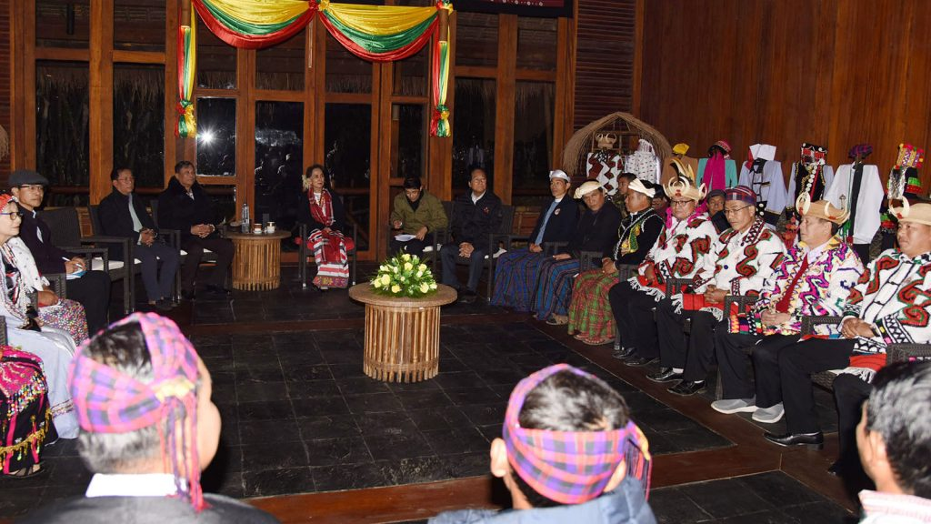 State Counsellor Daw Aung San Suu Kyi meets townselders and local people at Malikha Lodge Hotel in Putao, Kachin State, yesterday.Photo: MNA
