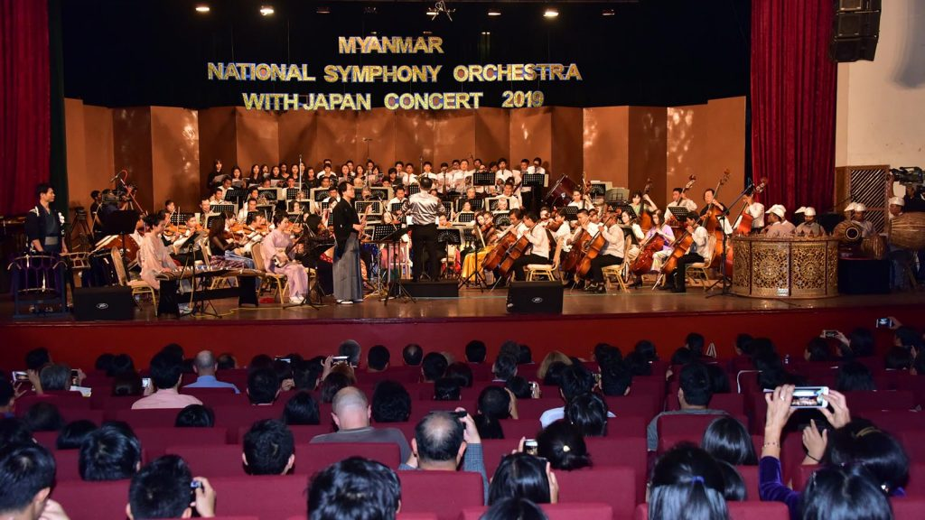 The Myanmar National Symphony Orchestra and Japanese musicians perform live during the Myanmar-Japan Concert at the National Theatre in Yangon.PHOTO: PE ZAW