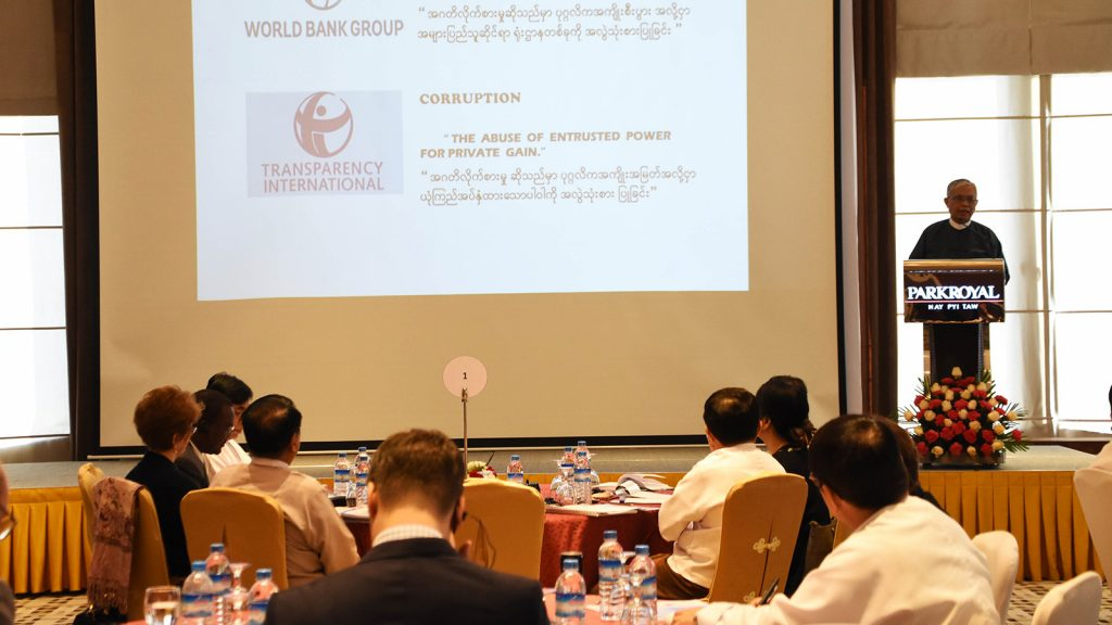 U Aung Kyi, Chairman of the Anti-Corruption Commission, delivers the opening speech at the workshop on formation of Corruption Prevention Units in Nay Pyi Taw yesterday.Photo: MNA