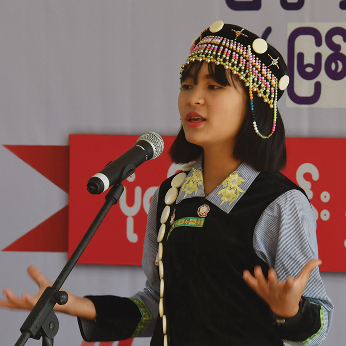 Ma Khaung Naw, a Lisu student, competes in the storytelling contest in ethnic languages at the second day of Children's Literature Festival in Myitkyina.