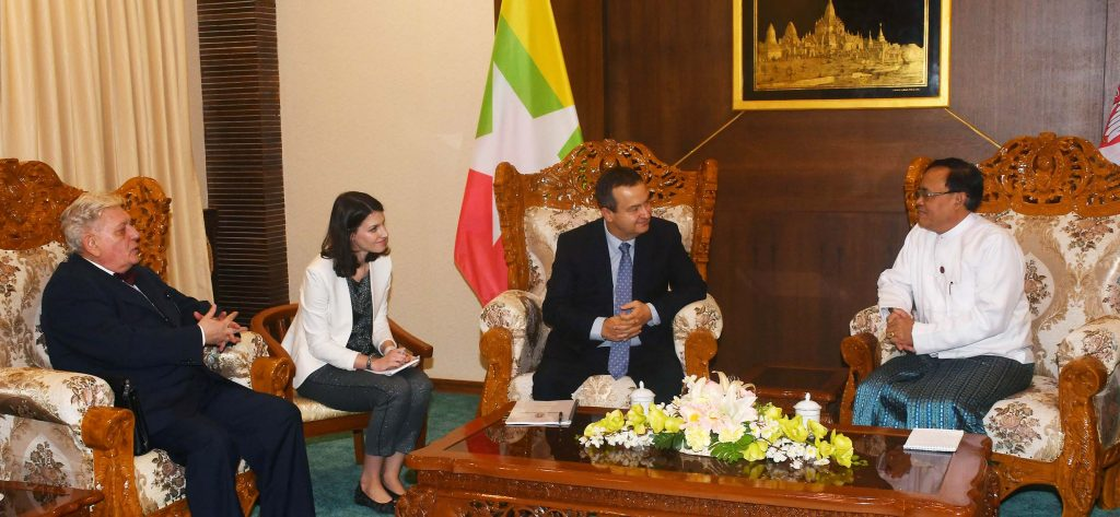 Union Minister U Kyaw Tin meeting with First Deputy Prime Minister Mr. Ivica Dacic in Nay Pyi Taw yesterday. Photo: MNA