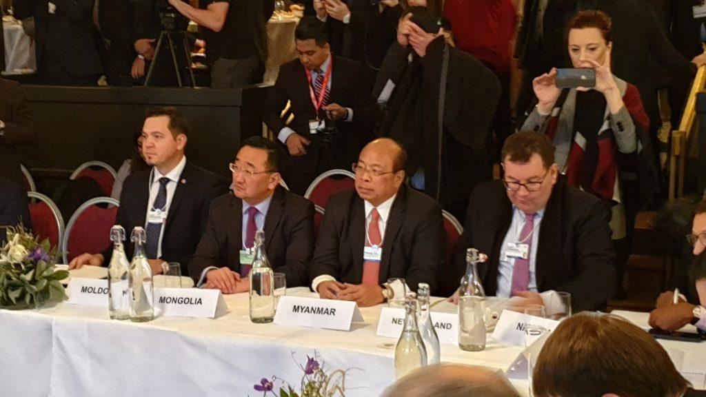 Union Minister U Thaung Tun attends the 2019 World Economic Forum.Photo: MNA
