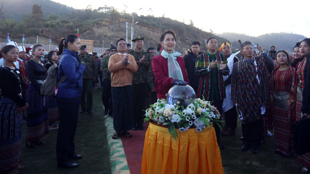 State Counsellor Daw Aung San Suu Kyi formally opens Haka City View Point Tower in Haka Township, Chin State. photo: thet aung