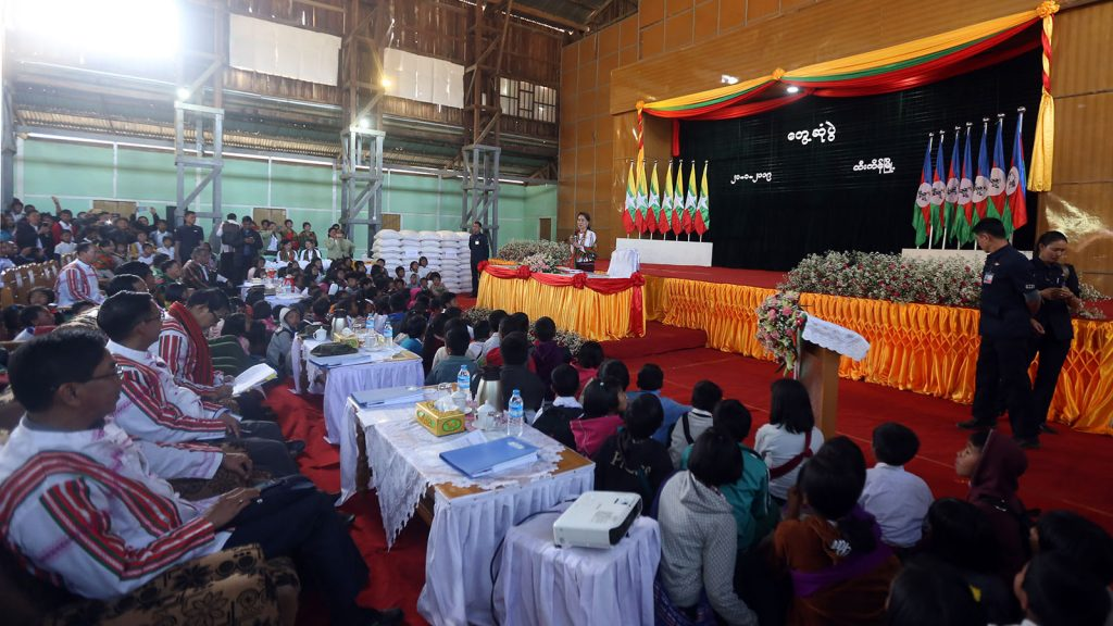 State Counsellor Daw Aung San Suu Kyi meets with local people in Tiddim Township, Chin State. photo: mna
