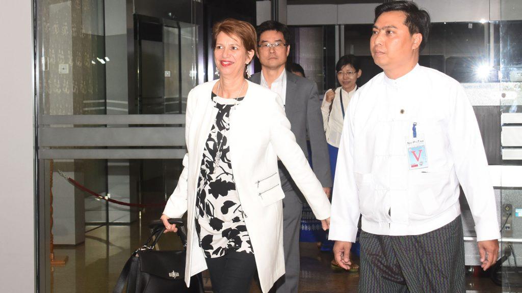UN Secretary General's Special Envoy on Myanmar Mrs. Christine Schraner Burgener arrives in Nay Pyi Taw yesterday.Photo: MNA