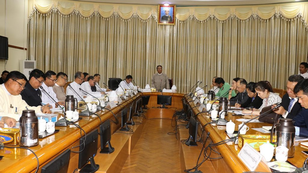Union Minister Dr. Than Myint delivers the speech at the coordination meeting with officials from the People's Republic of China yesterday.Photo: MNA