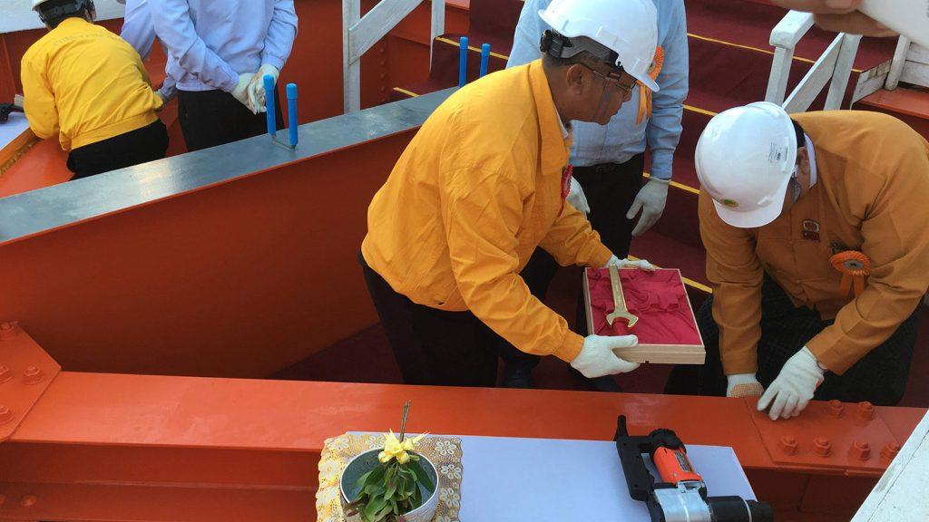 Union Minister U Han Zaw and Deputy Minister U Kyaw Lin confirm the durability of the Myaungmya Bridge based on the results of a survey yesterday.Photo: Sandar Moe (IPRD)