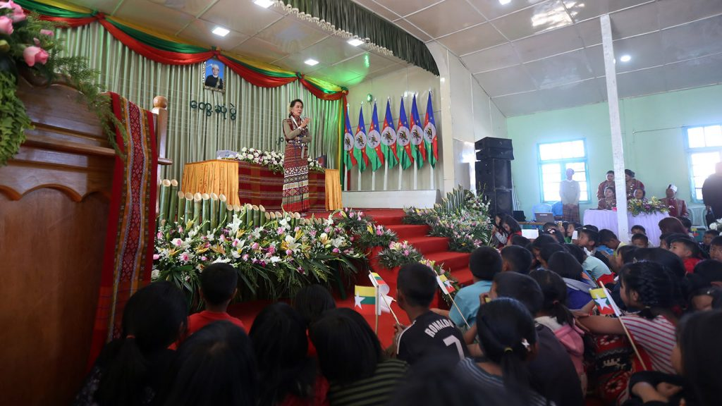 State Counsellor Daw Aung San Suu Kyi meeting with local people in Thantlang.Photo: Thet Aung