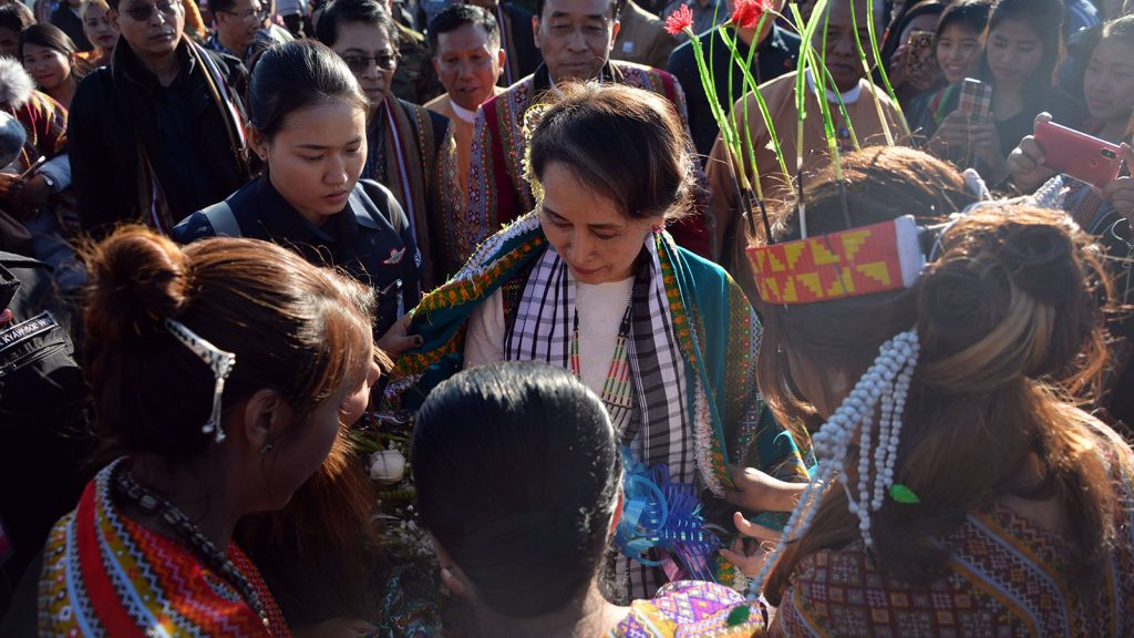 State Counsellor Daw Aung San Suu Kyi is welcomed by local ethnic people in Haka.Photo: Thet Aung