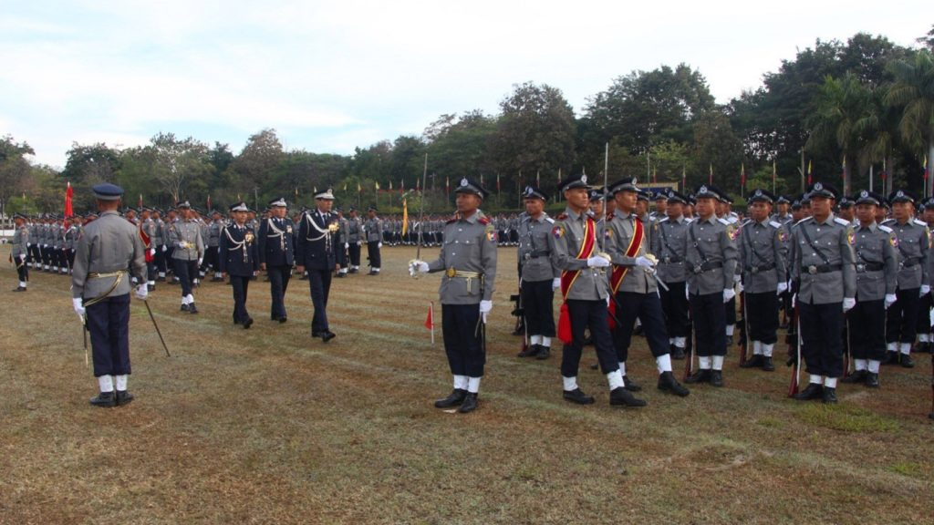 Chief of Myanmar Police Force Police Lt-Gen Aung Win Oo inspects the graduation parade of the cadet sub-inspectors at PyinOoLwin Township Police Officer Training School parade ground. Photo: MNA