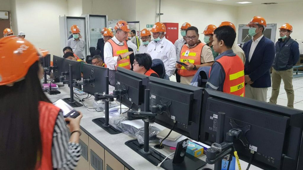 Union Minister U Win Khaing visits the electrical power station in Laos.Photo : Htan Phone