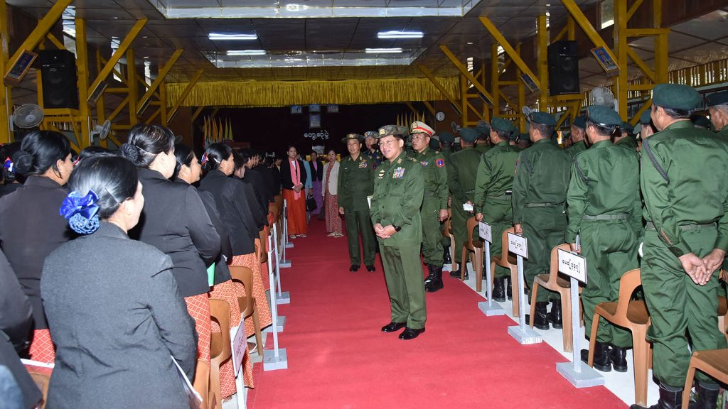 Senior General Min Aung Hlaing meeting with officers, other ranks and families of  the Bhamo Cantonment in Myitkyina yesterday.Photo: Office of the Commander-in-Chief