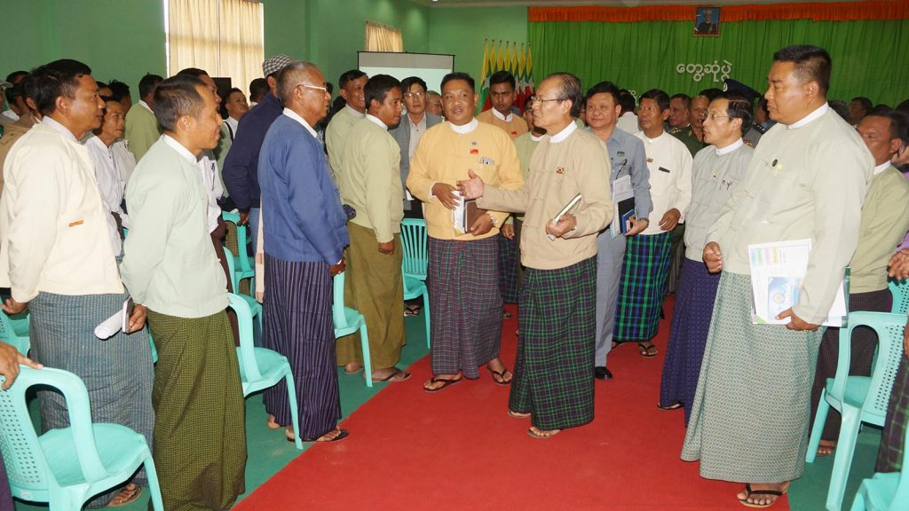 Nay Pyi Taw Council Chairman Dr. Myo Aung meets Hluttaw representatives, departmental officials and locals in Ottarathiri yesterday.Photo: MNA