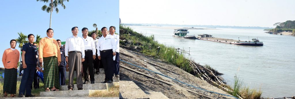Vice President U Henry Van Thio and party inspect embankment maintenance work to prevent river bank erosion in Nyaungdon yesterday. Photo: MNA