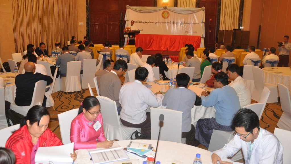 Permanent secretary Dr. Thet Khaing Win addresses the coordination meeting on safeguarding and rehabilitating drug addiction held in Nay Pyi Taw yesterday.Photo: MNA