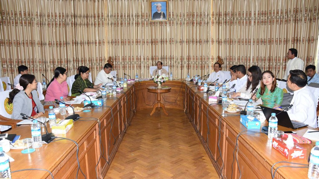 Union Minister Dr Myint Htwe attends a meeting for additional measles vaccination program in Yangon Region held in Nay Pyi Taw yesterday.Photo: MNA