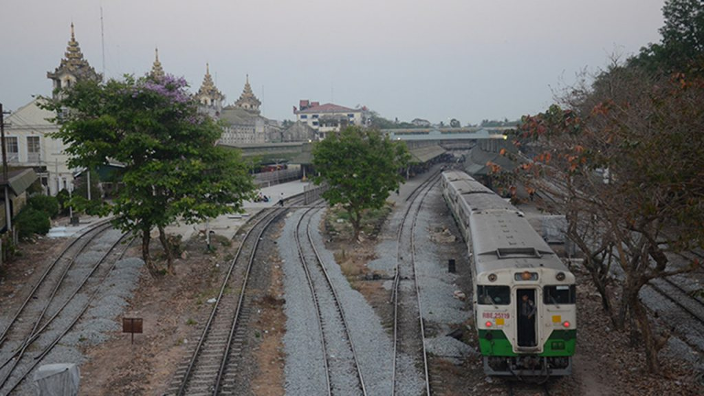 A locomotive runs on the Yangon Circular Railway at Yangon Central Railway Station.  Photo: Phoe Khwar