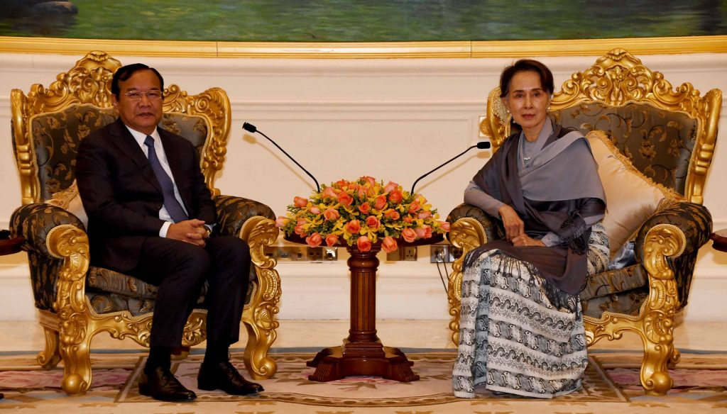 State Counsellor Daw Aung San Suu Kyi meets with Cambodian Deputy Prime Minister Mr. Prak Sokhonn at the Presidential Palace in Nay Pyi Taw.  Photo: MNA