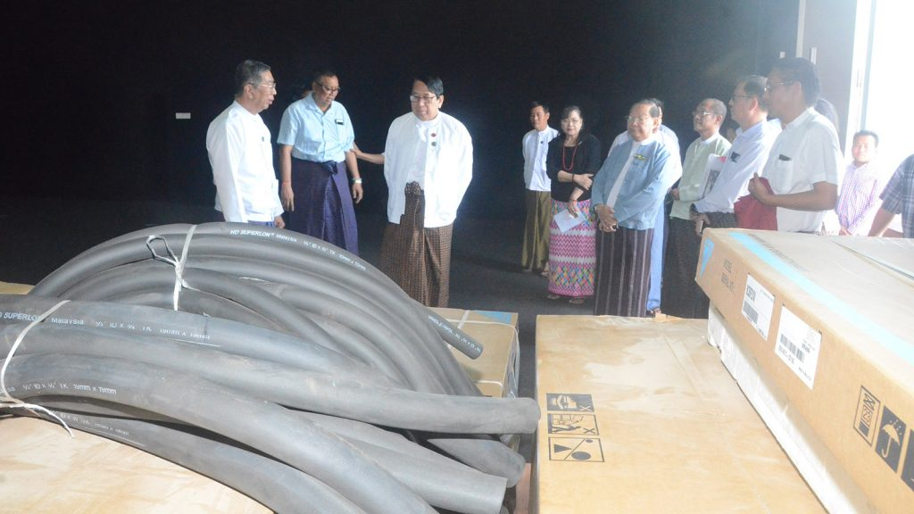 Union Minister Dr. Pe Myint inspects the studios at Film Development Center yesterday.Photo: MNA