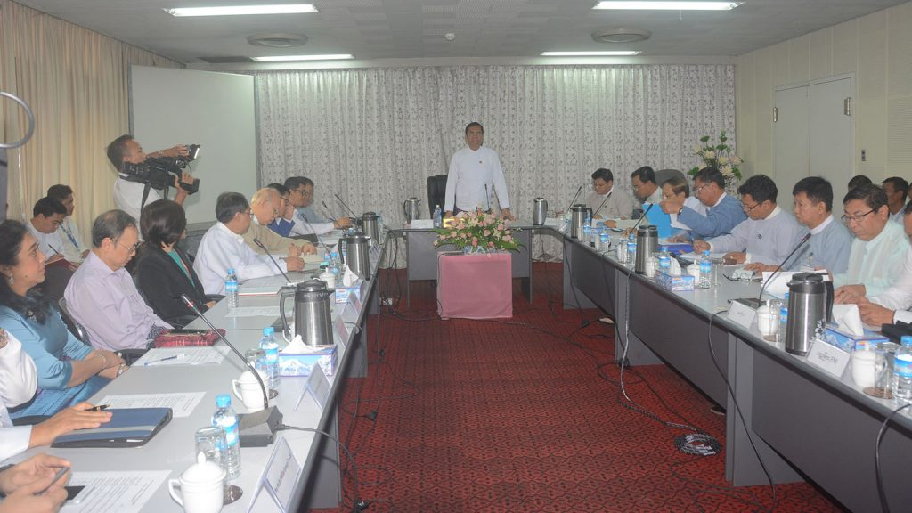 Deputy Minister U Aung Hla Tun addresses the Broadcasting Governing Body coordination meeting in Yangon yesterday.  Photo : MNA