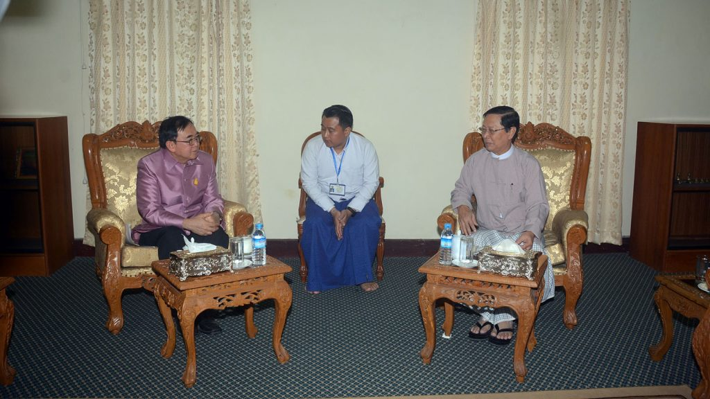 Union Minister Thura U Aung Ko holds talk with Minister for Culture of Thailand  Mr. Vira Rojpojchanarat in Yangon yesterday.Photo : MNA