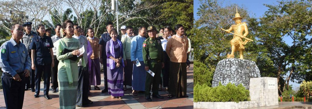 State Counsellor Daw Aung San Suu Kyi visits statue of King Bayint Naung on the Bayint Naung hill in Kawthoung yesterday.Photo: MNA