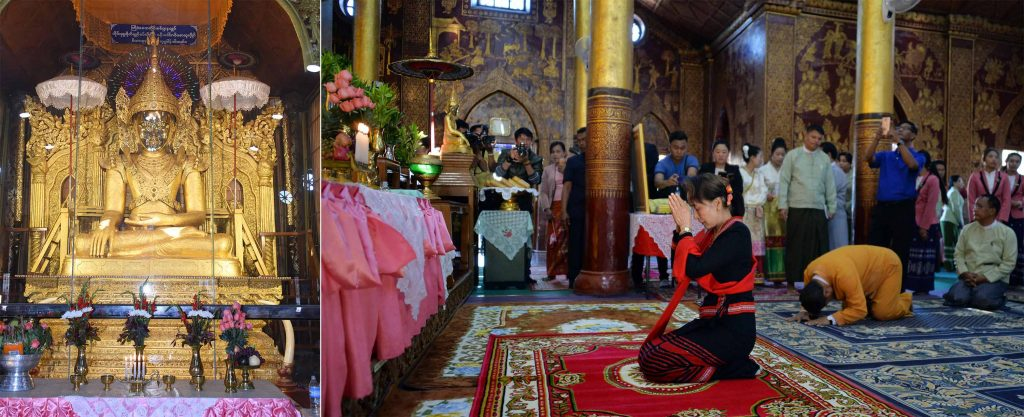 State Counsellor Daw Aung San Suu Kyi pays homage  to the Buddha image housed inside Maha Myat Muni Pagoda in Kengtung.photo: mna