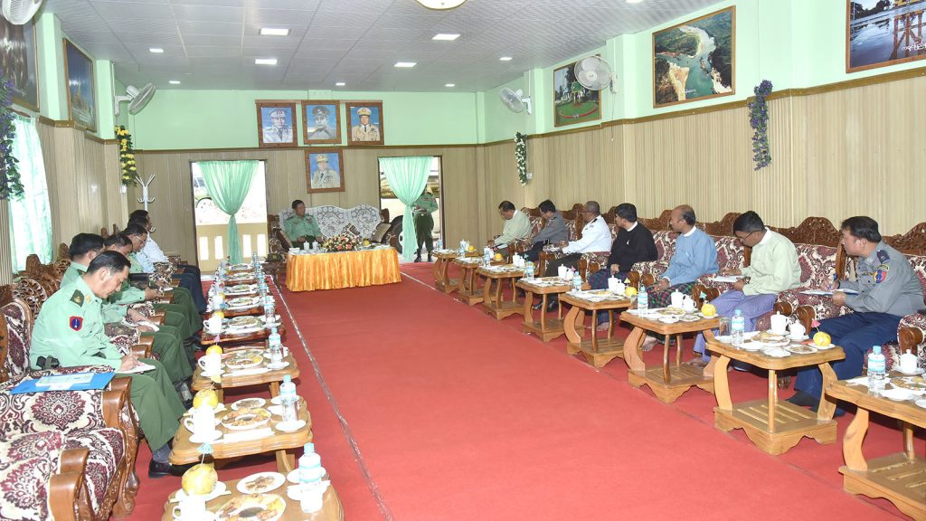 Senior General Min Aung Hlaing meets with department officials from Mohnyin District. photo: c-in-c Office