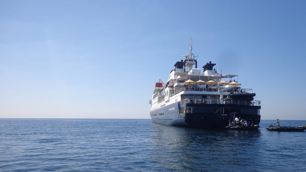 Ms Silver cruise ship docks at Ngapali Beach. Photo: Supplied