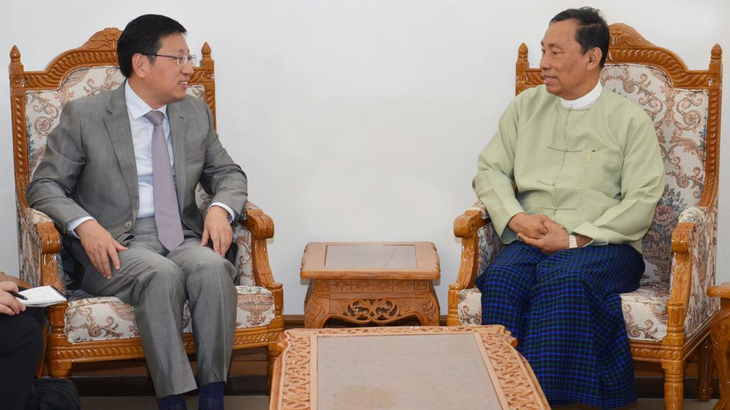 Thura U Shwe Mann holds talks with Chinese Ambassador to Myanmar Mr. Hong Liang in Nay Pyi Taw yesterday. Photo: MNA
