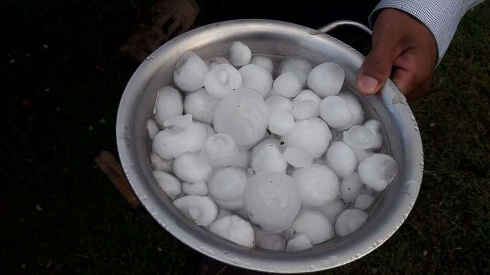 Hailstones rained down on the village of Maran.Photo: Win Naing