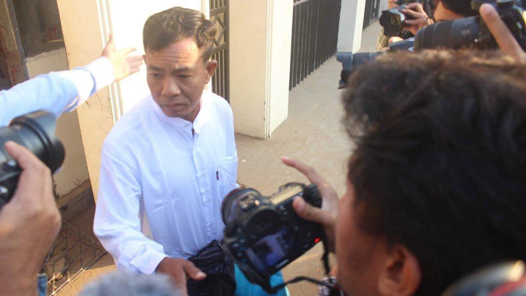 Former police captain Moe Yan Naing meeting with the press outside Insein Prison.Photo: Myo Gyi
