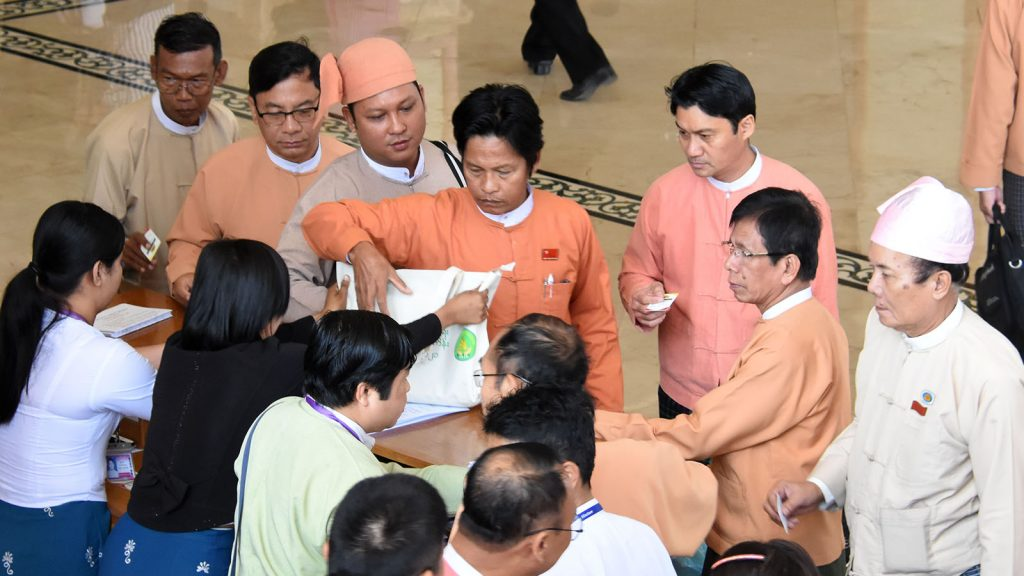 MPs of the 2nd Amyotha Hluttaw arrive to attend the 19th-day meeting in Nay Pyi Taw. Photo: MNA