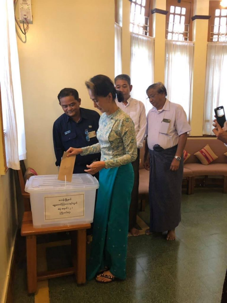State Counsellor Daw Aung Suu Kyi casts the advance vote for Yangon municipal election in Bahan Township, Yangon yesterday. Photo: MNA