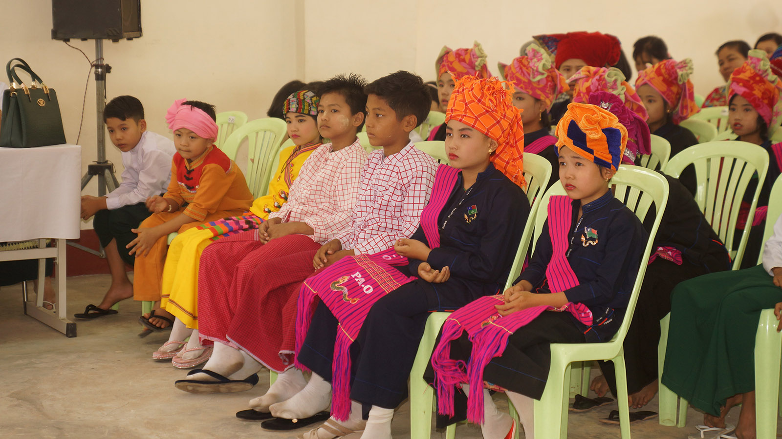 Ethnic students compete in the storytelling contest in ethnic languages on the second day of Children's Literary Festival in Bago yesterday.Photo: Thet Lwin