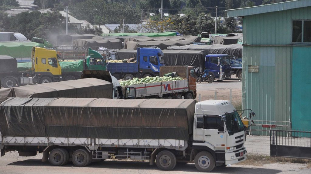 Watermelon are seen ready to export to China.Photo: Phoe Khwar
