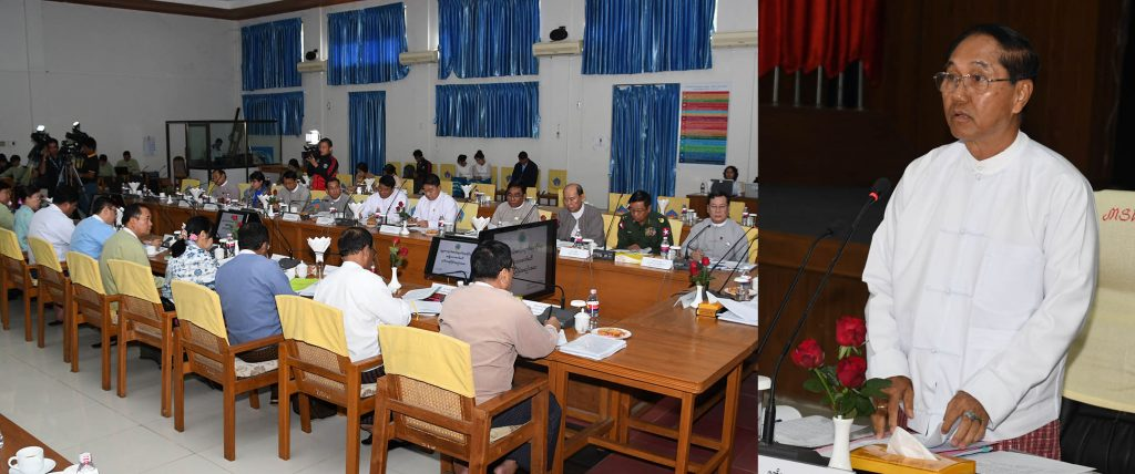 Vice President U Myint Swe addresses the second meeting of the National Level Social Protection Committee held in Nay Pyi Taw yesterday. photo: mna
