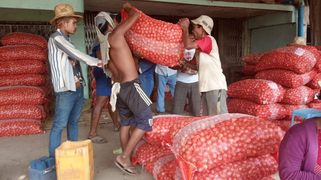 Workers carry sacks of onion for local market sale. Photo : Supplied